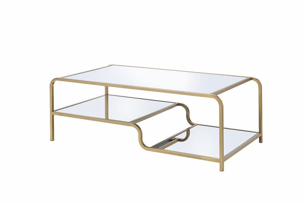 Elegant Coffee Table With Mirror Top in Glam Gold Finish With Bottom Shelf