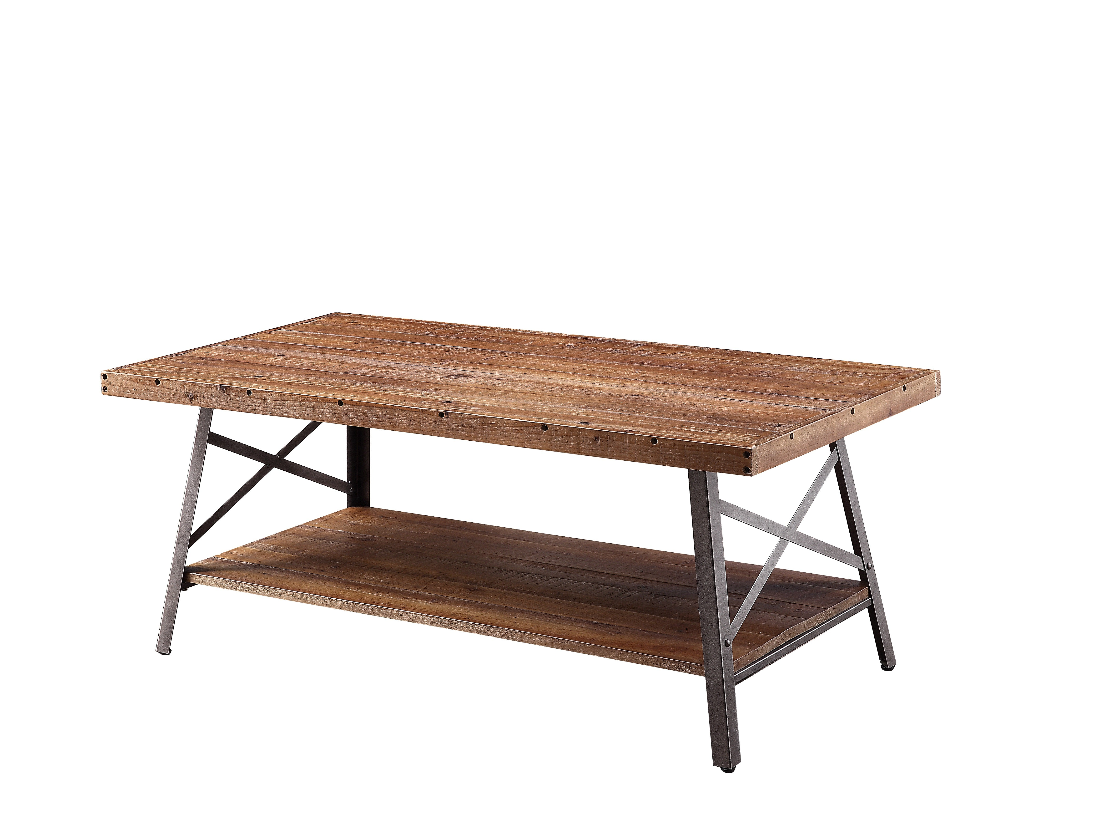 Rustic Farmhouse Coffee Table With Metal X Frame