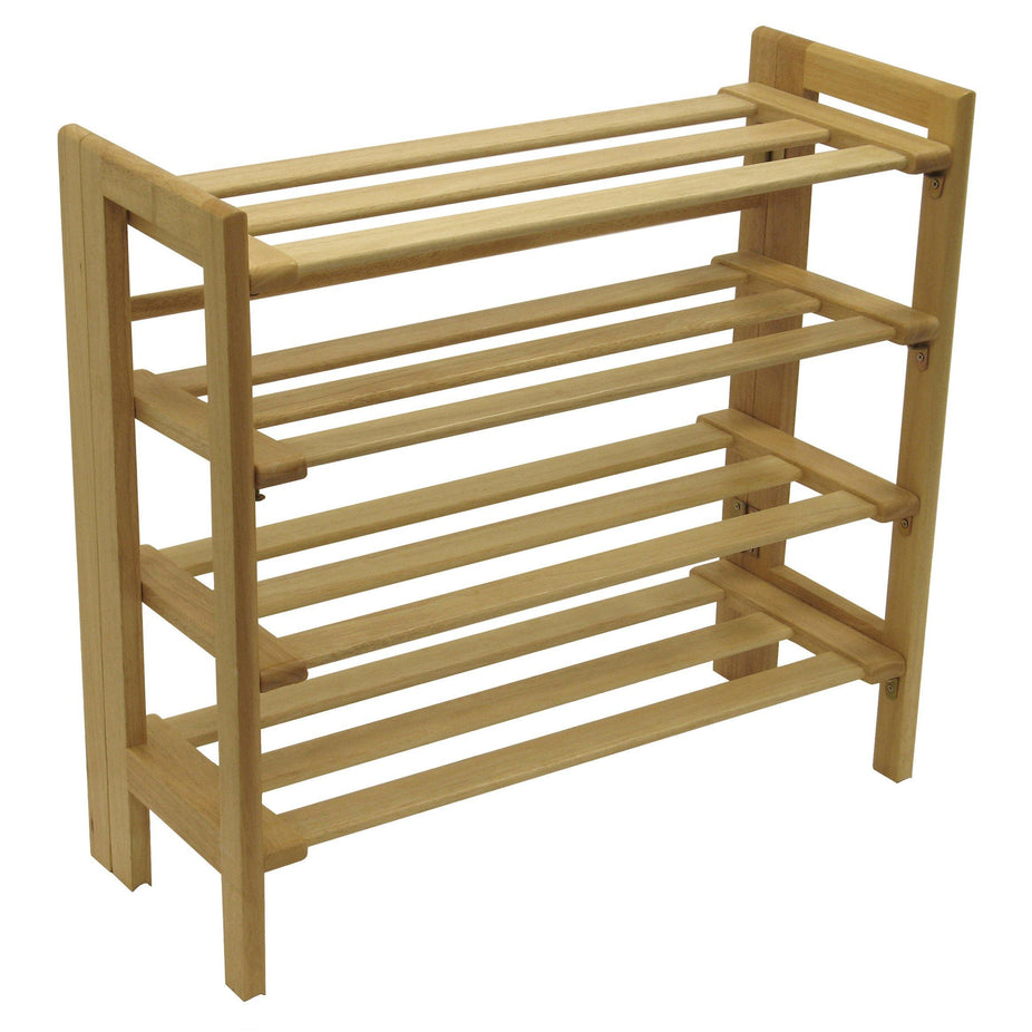 Foldable Shoe Rack, 4 Shelf Space Saver, Natural