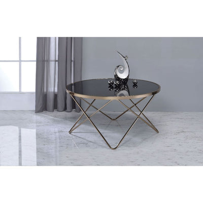 Round Coffee Table With Black Glass Top and Champagne Finish Metal Base