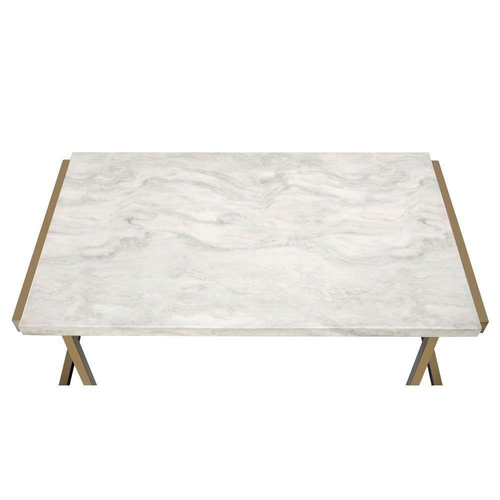 Faux Marble Coffee Top with Champagne Elegant Legs - My USA Furniture