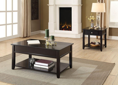 Elegant Lift Top Coffee Table with Bottom Shelf In Black