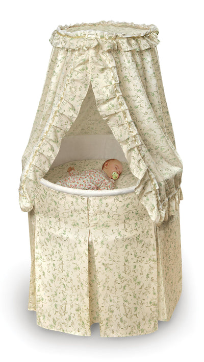 Empress Round Baby Bassinet with Canopy - Ecru and Leaf Print Bedding - My USA Furniture