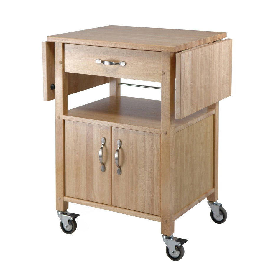 Rachael Drop Leaf Utility Kitchen Cart, Natural - My USA Furniture