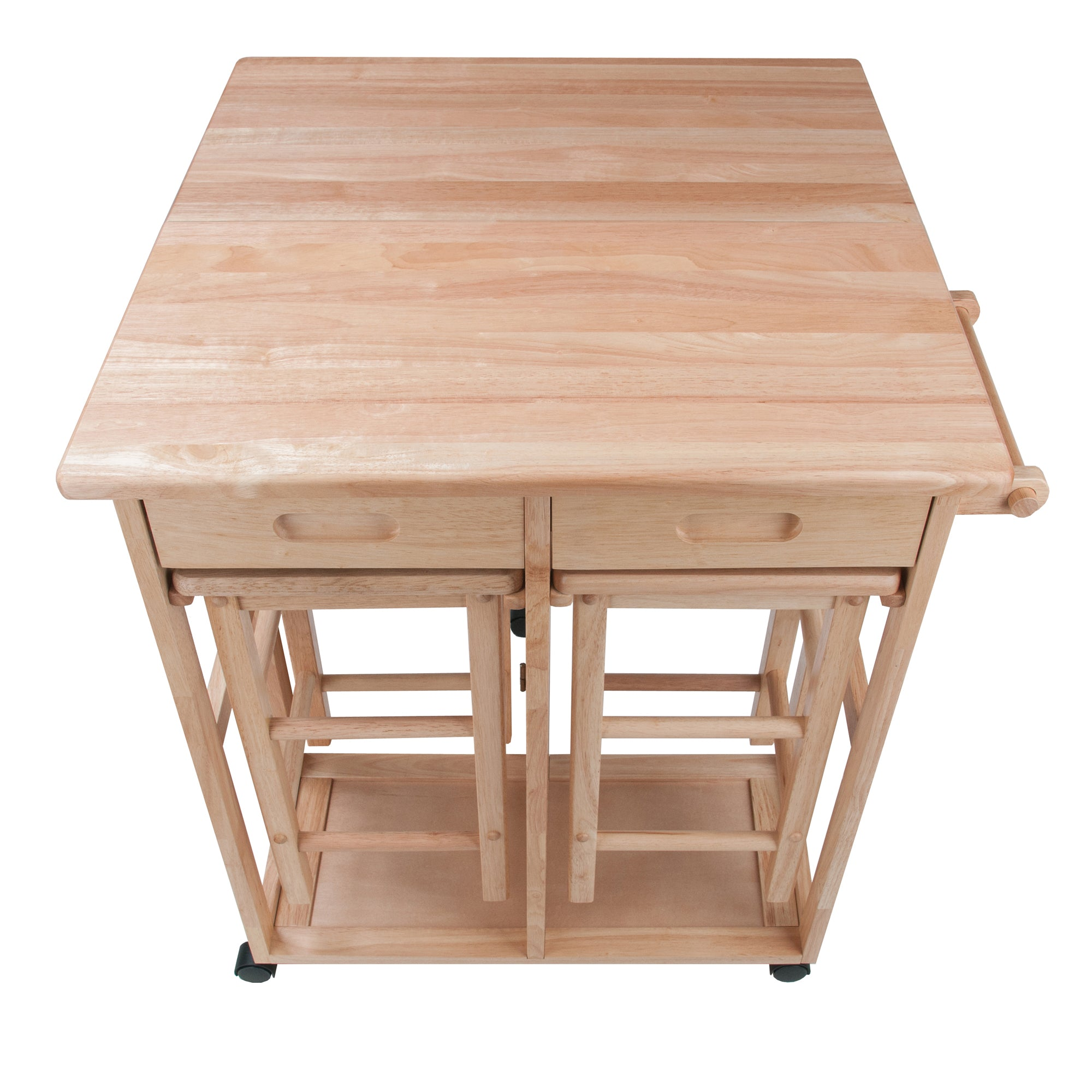 Space Saving Drop Leaf Table And Stools, Natural