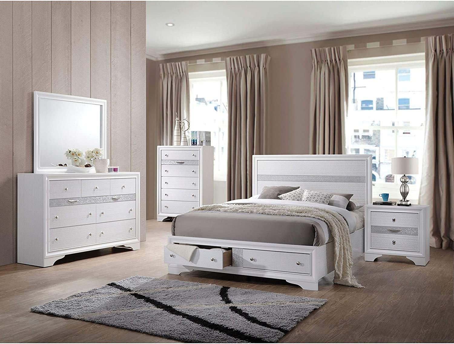 King Size Platform Bed With Storage Drawers, White - My USA Furniture