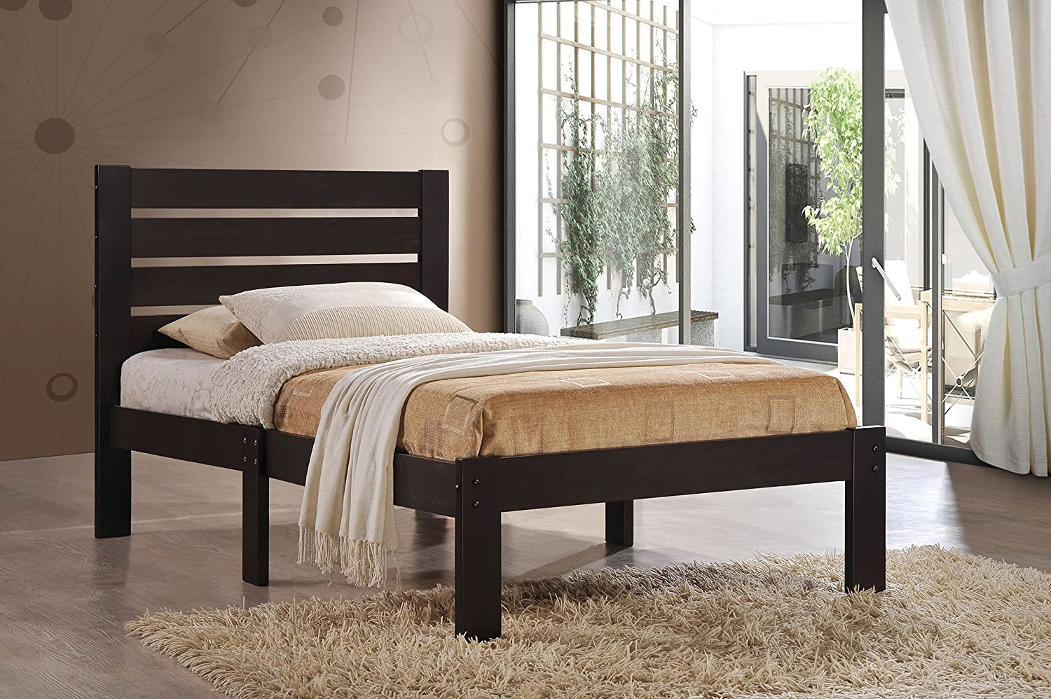 Wooden Contemporary Twin Bed, Slatted Headboard