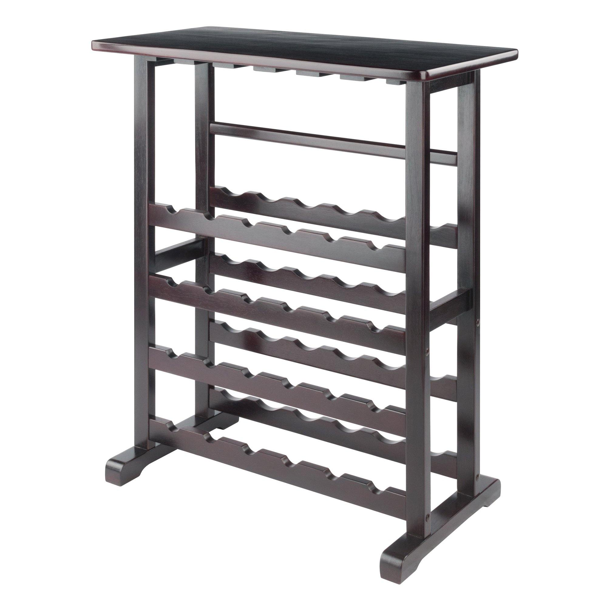24 Bottle Wine Rack, Made Of Solid Wood, Espresso