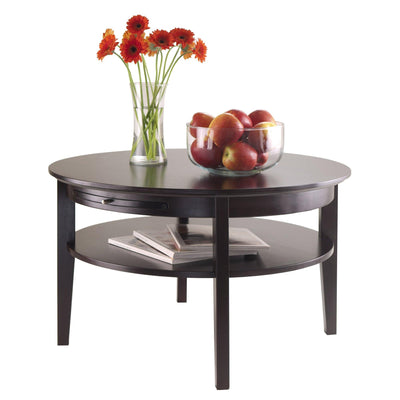 Amelia Round Coffee Table with Pull out Tray
