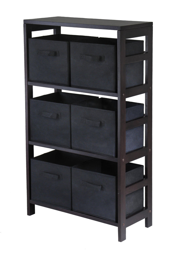 Capri 3-Section M Storage Shelf with 6 Foldable Black Fabric Baskets - My USA Furniture