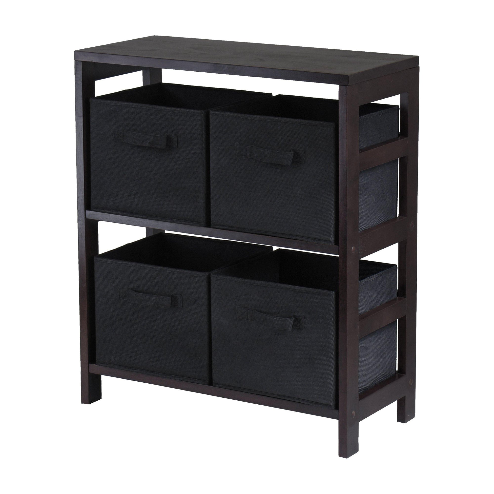 Capri 2-Section M Storage Shelf with 4 Foldable Black Fabric Baskets - My USA Furniture
