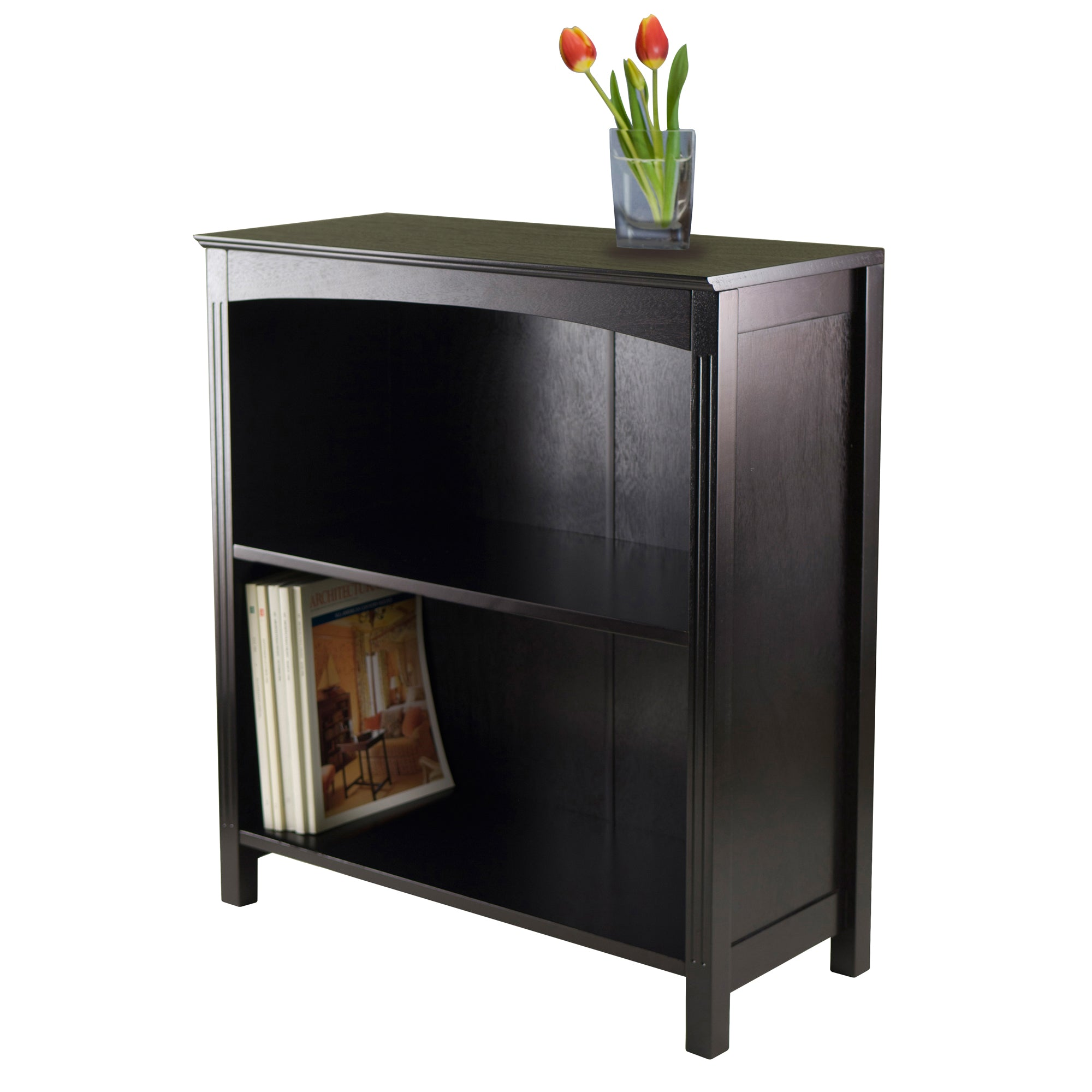 Small Bookcase Storage Shelf in Espresso Finish