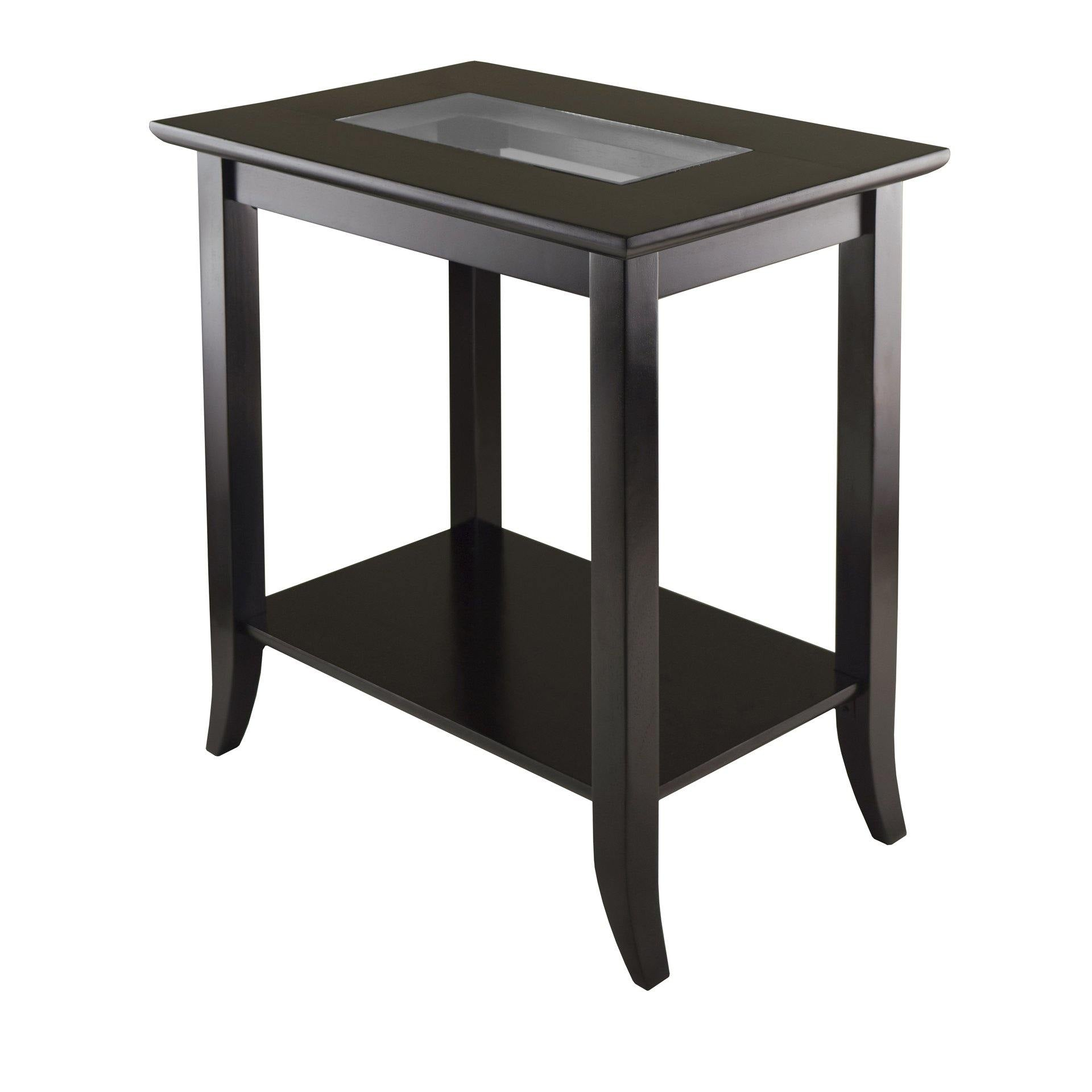 Genoa Rectangular End Table with Glass Top and shelf - My USA Furniture