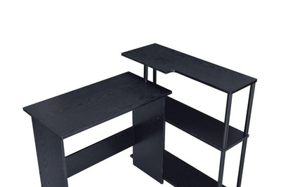 Black Laptop Writing Desk With Storage Shelves For Books
