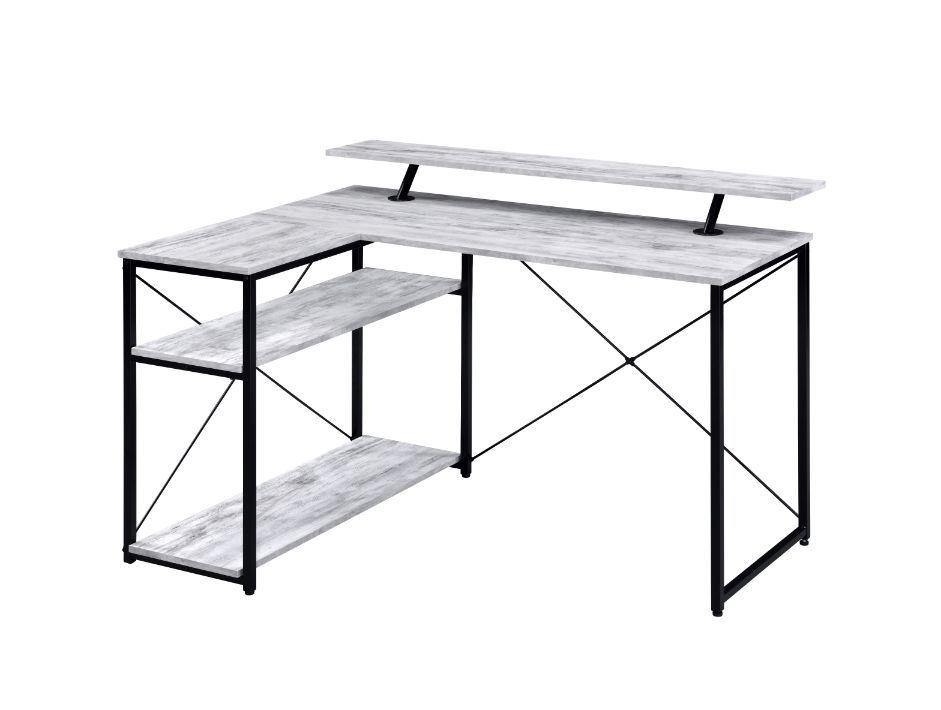L Shaped Desk With Storage Shelves, Weathered White - My USA Furniture