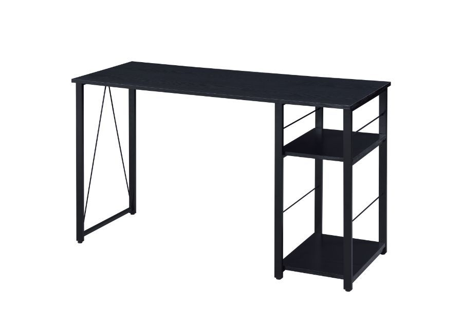 Writing Desk Wih Storage Shelves, Industrial Style, Black Finish