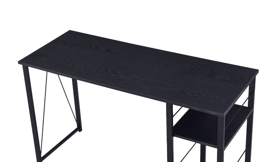 Writing Desk With Storage Shelves, Black Finish
