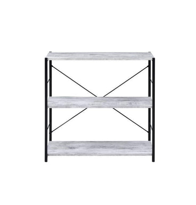3-Tier Bookcase With Metal X Frame, Industrial Design in Antique White