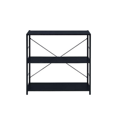 3-Tier Bookcase With Metal X Frame, Industrial Design in Black White
