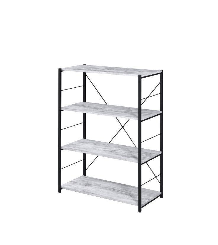 4-Tier Bookcase With Metal X Frame, Industrial Design in Antique White