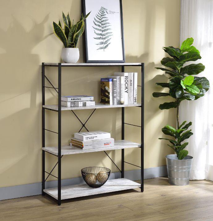 4-Tier Bookcase, Metal X Frame, Antique White - My USA Furniture