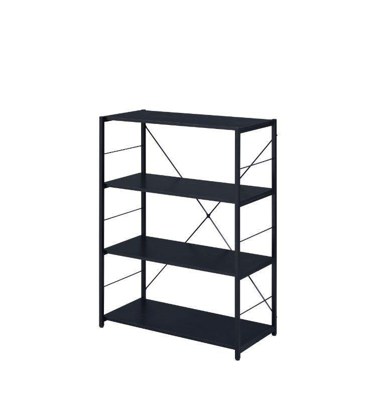 4-Tier Bookcase With Metal X Frame, Industrial Design in Black