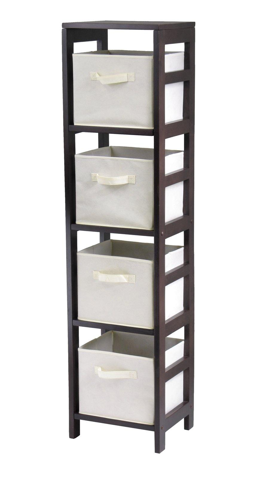 Capri 4-Section N Storage Shelf with 4 Foldable Beige Fabric Baskets - My USA Furniture