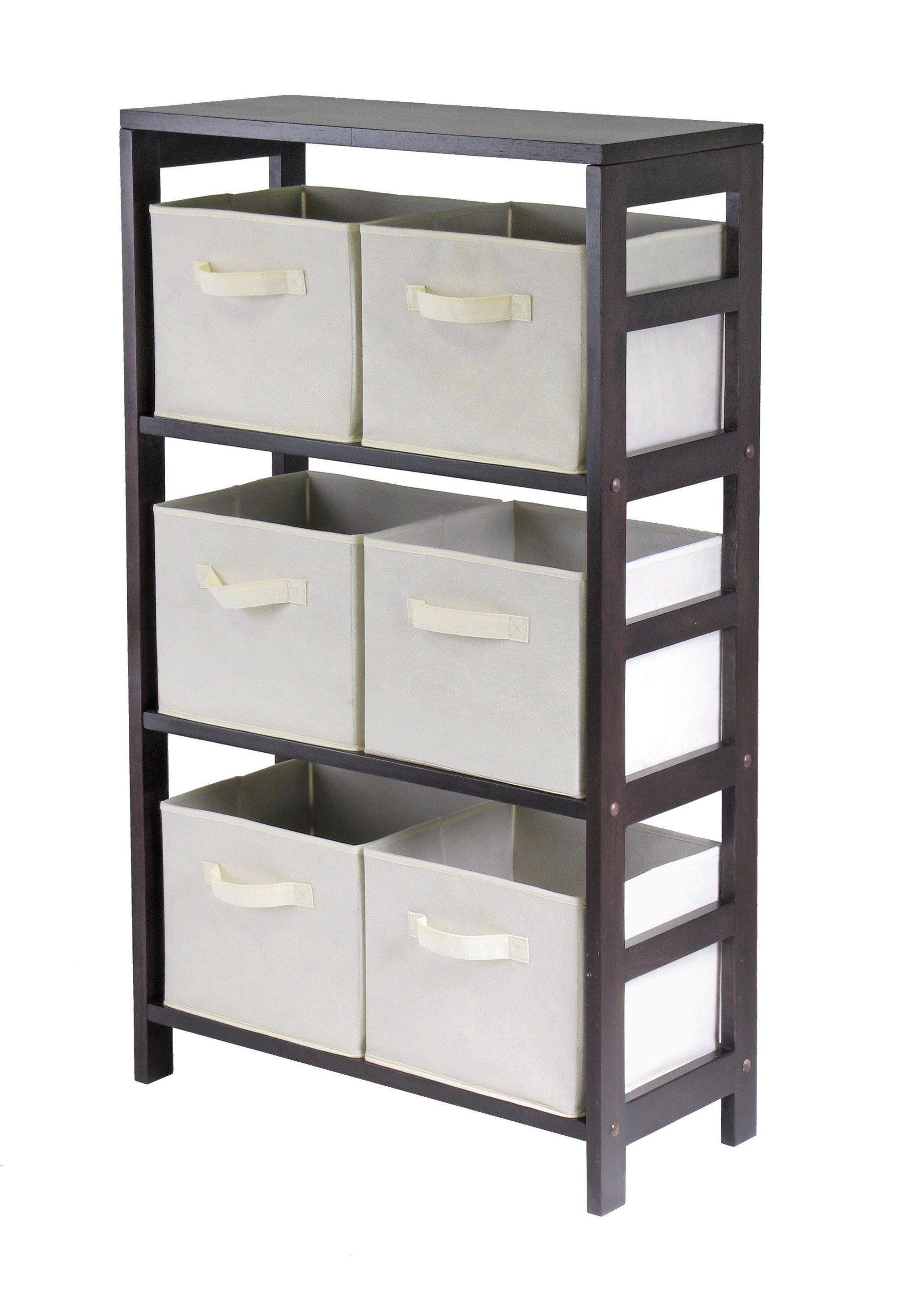 Capri 3-Section M Storage Shelf with 6 Foldable Beige Fabric Baskets - My USA Furniture
