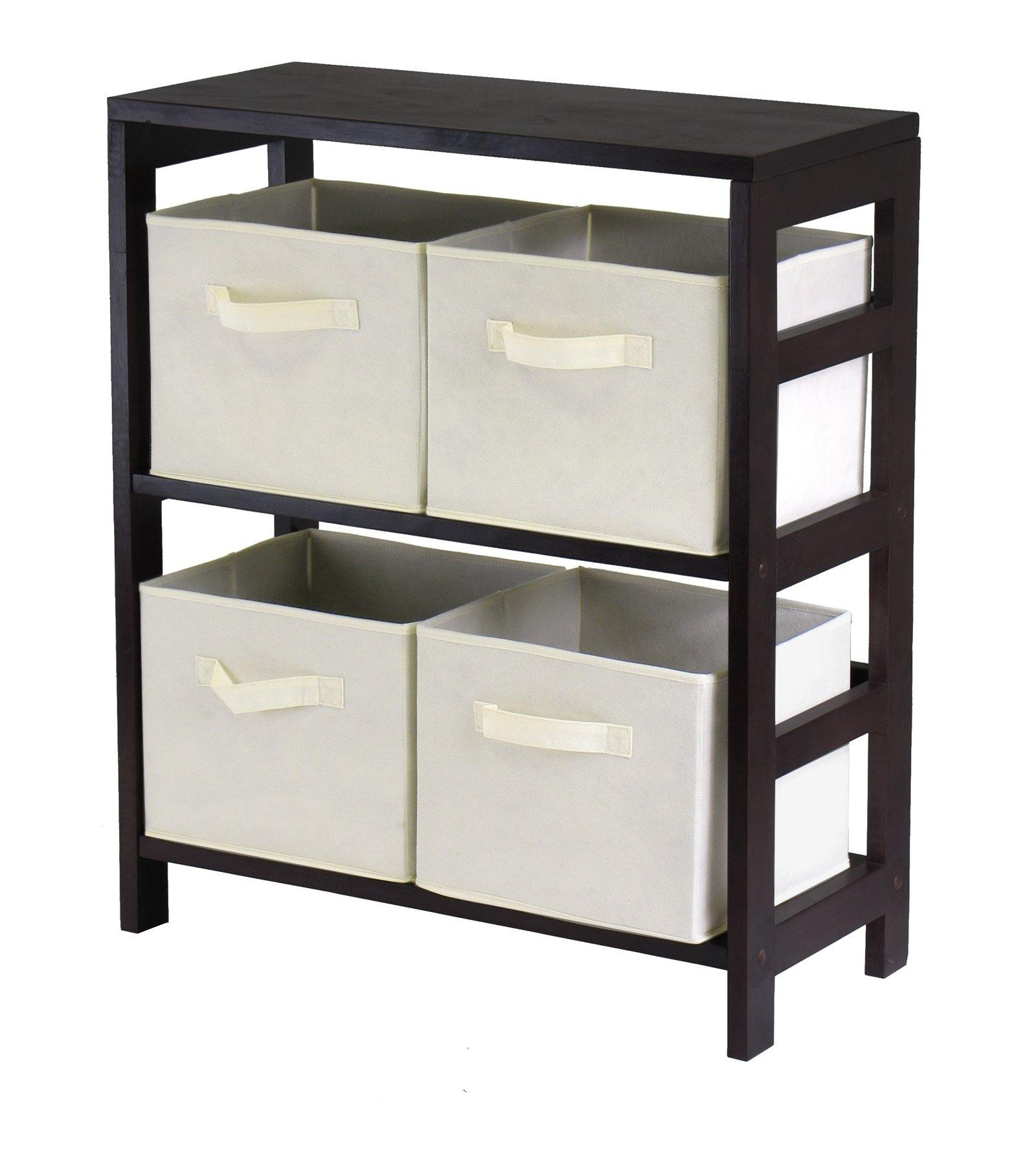 Capri 2-Section M Storage Shelf with 4 Foldable Beige Fabric Baskets - My USA Furniture