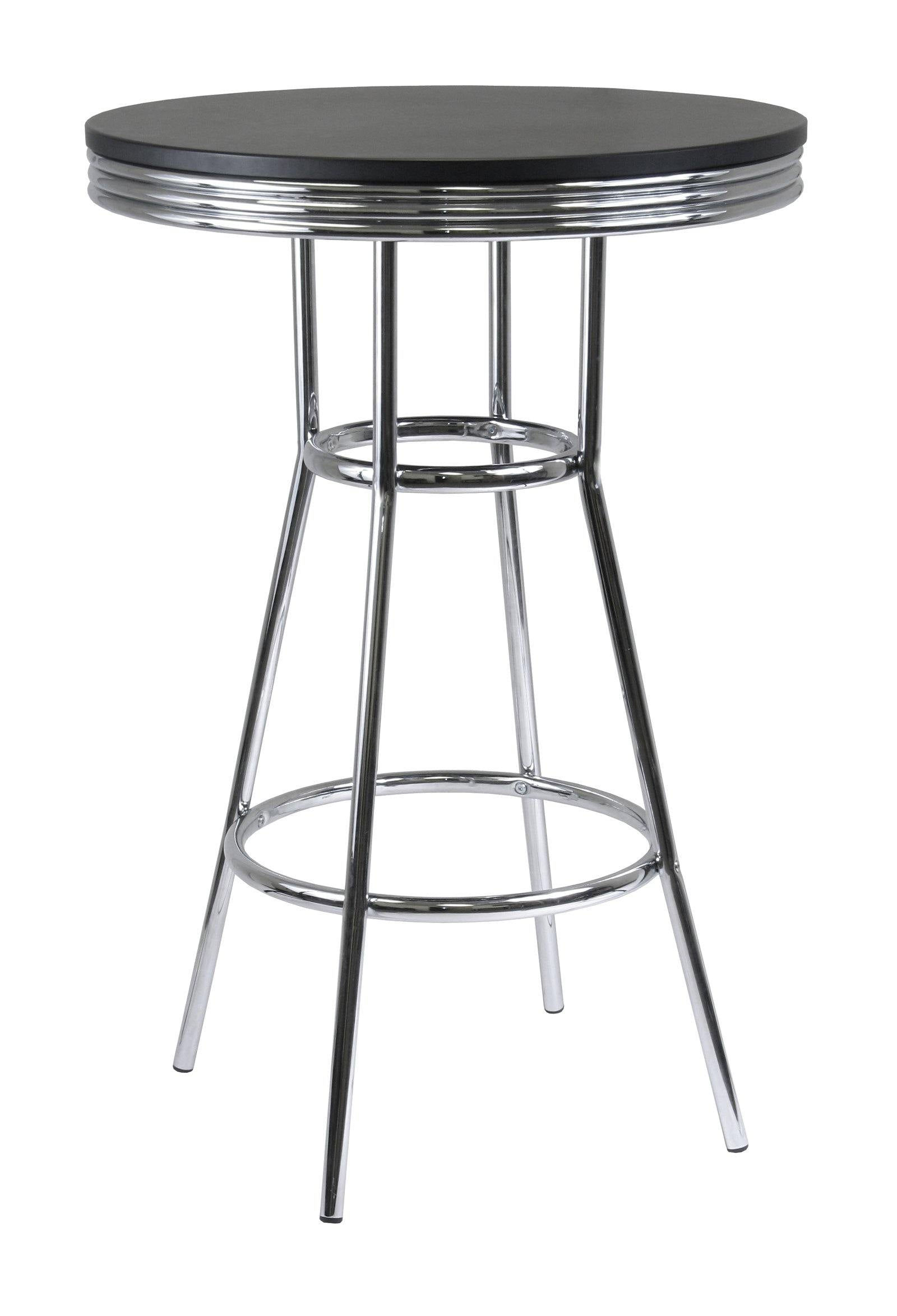 Summit Round Pub Table, Black & Chrome