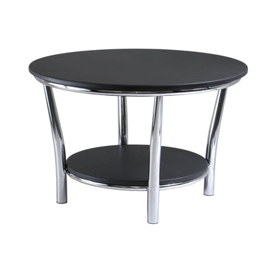 Maya Round Coffee Table, Black Top, Metal Legs - My USA Furniture