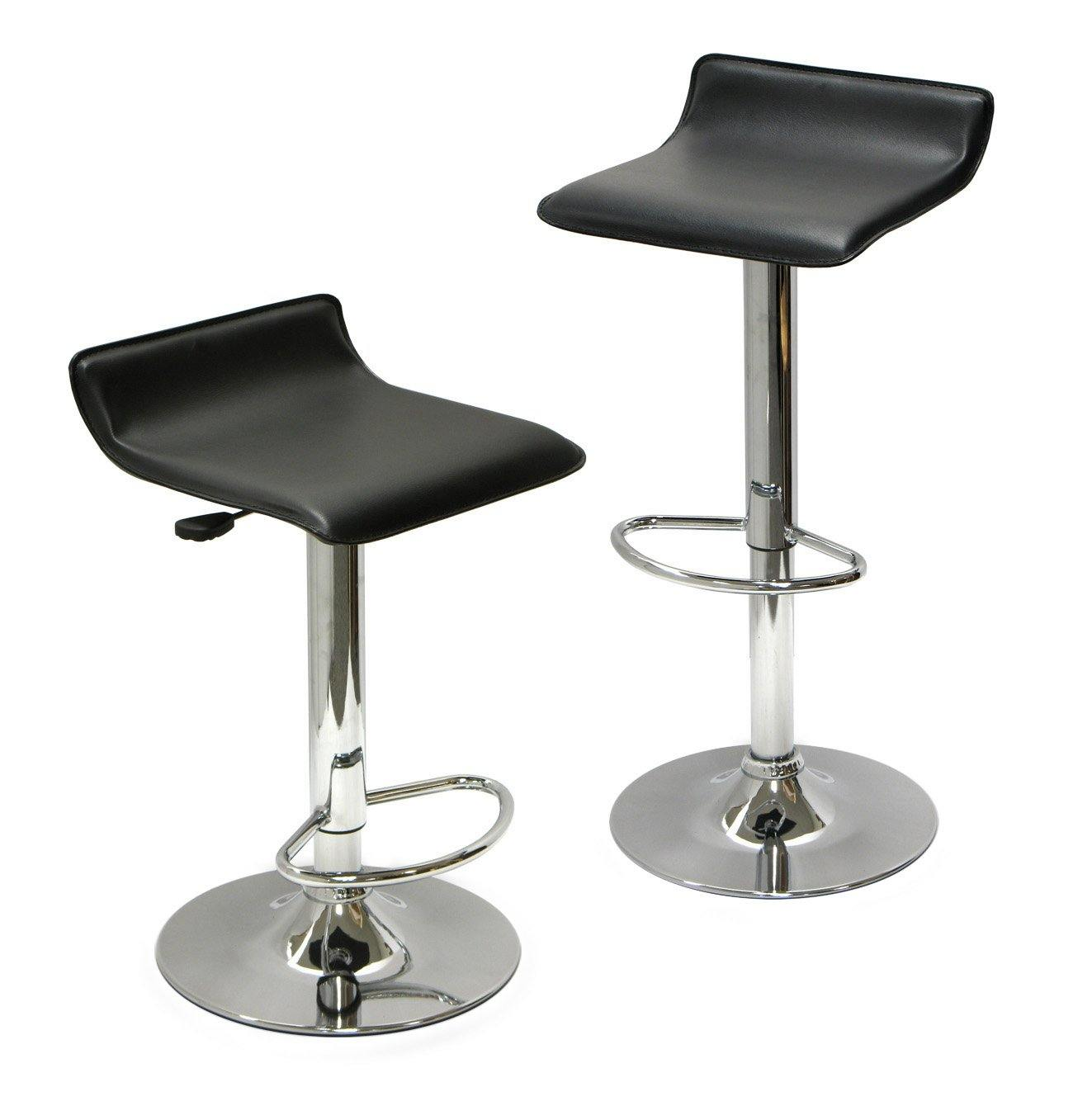 Spectrum Adjustable Swivel Stools, 2-Pc Set, Black & Chrome - My USA Furniture