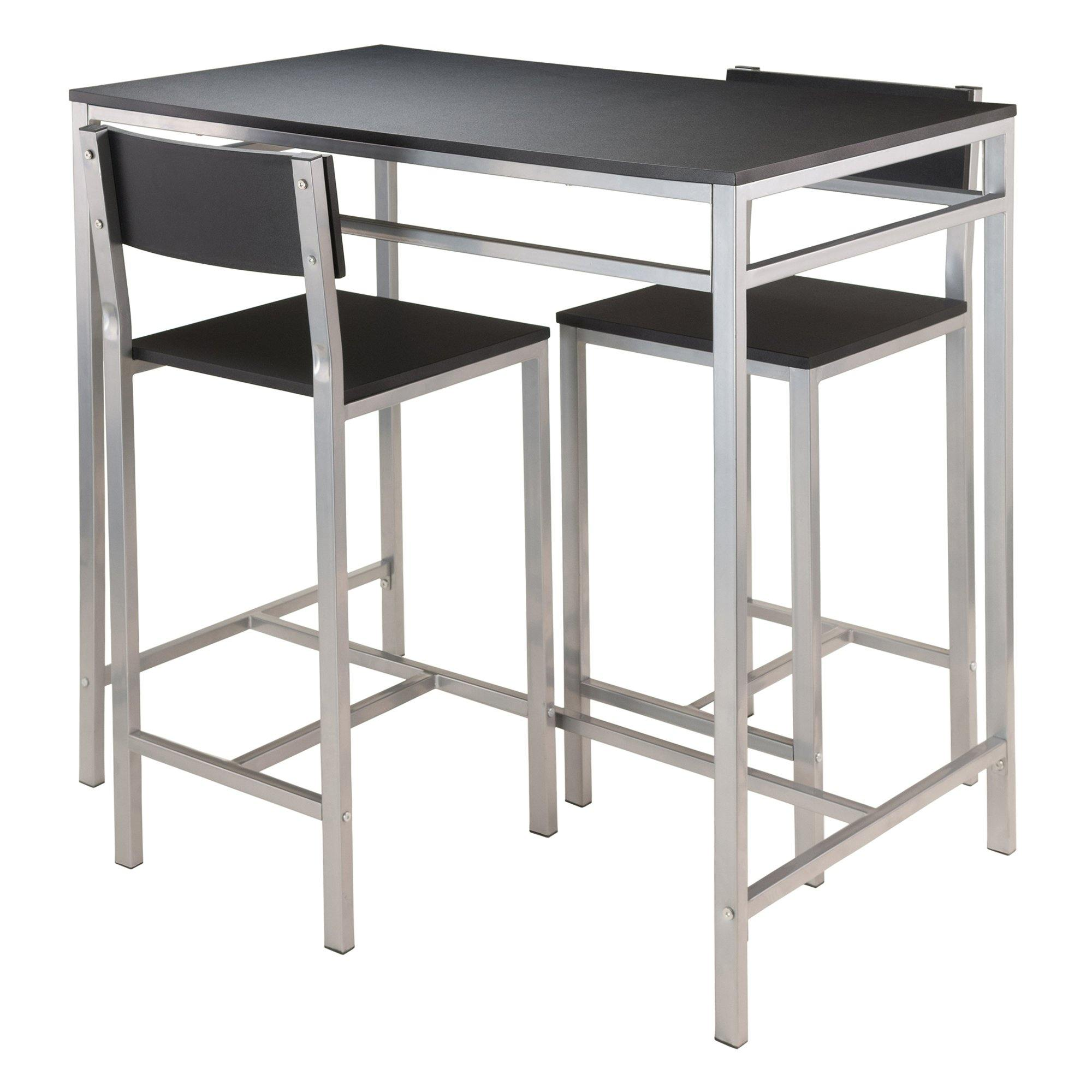 3 Piece Table Set, Metal Frame And Black MDF Top - My USA Furniture