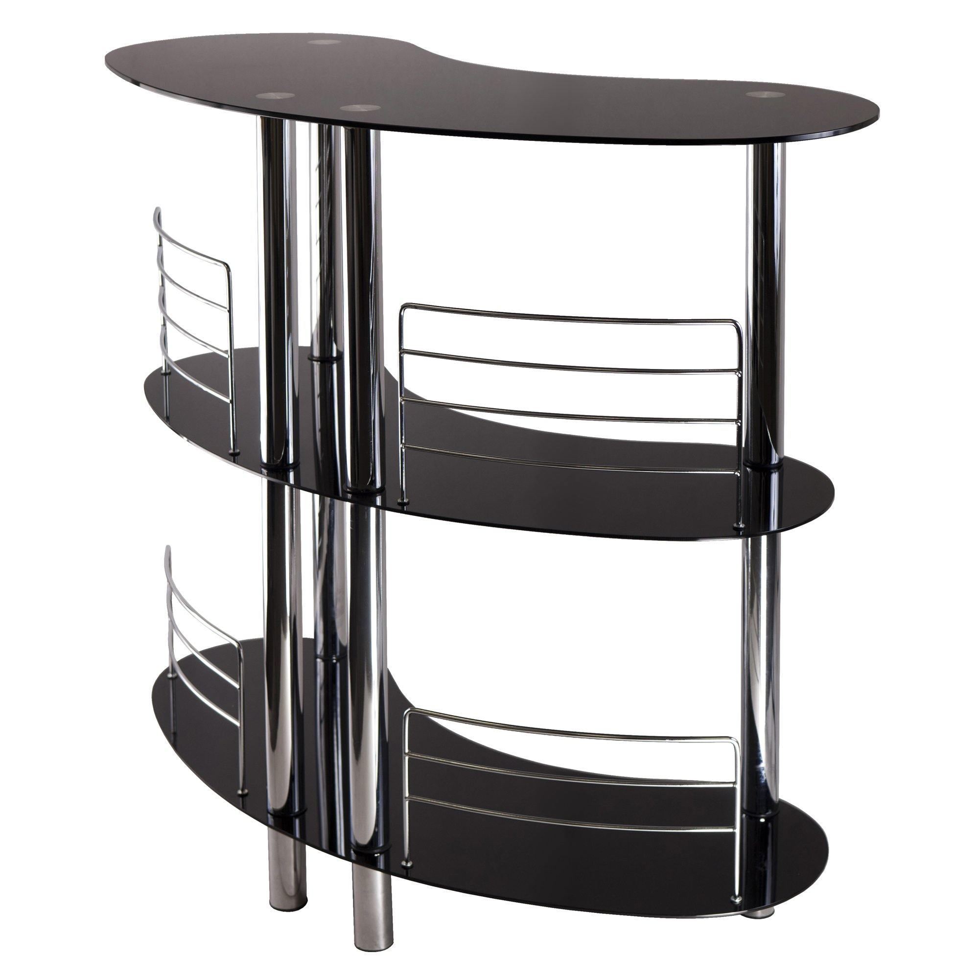 Bar Wine Storage, Black Glass And Metal Frame - My USA Furniture