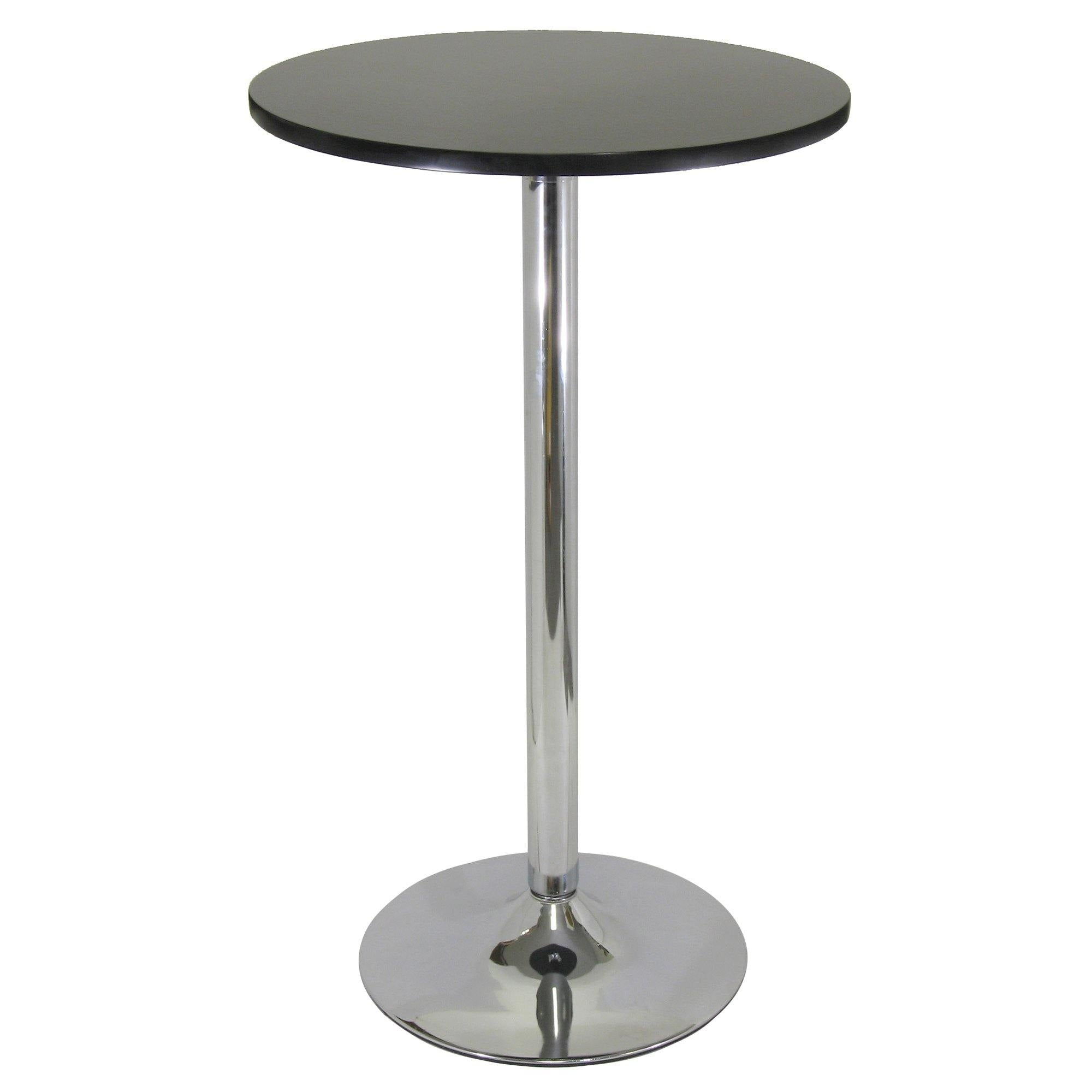 "Spectrum 24"" Round Pub Table, Black & Chrome"
