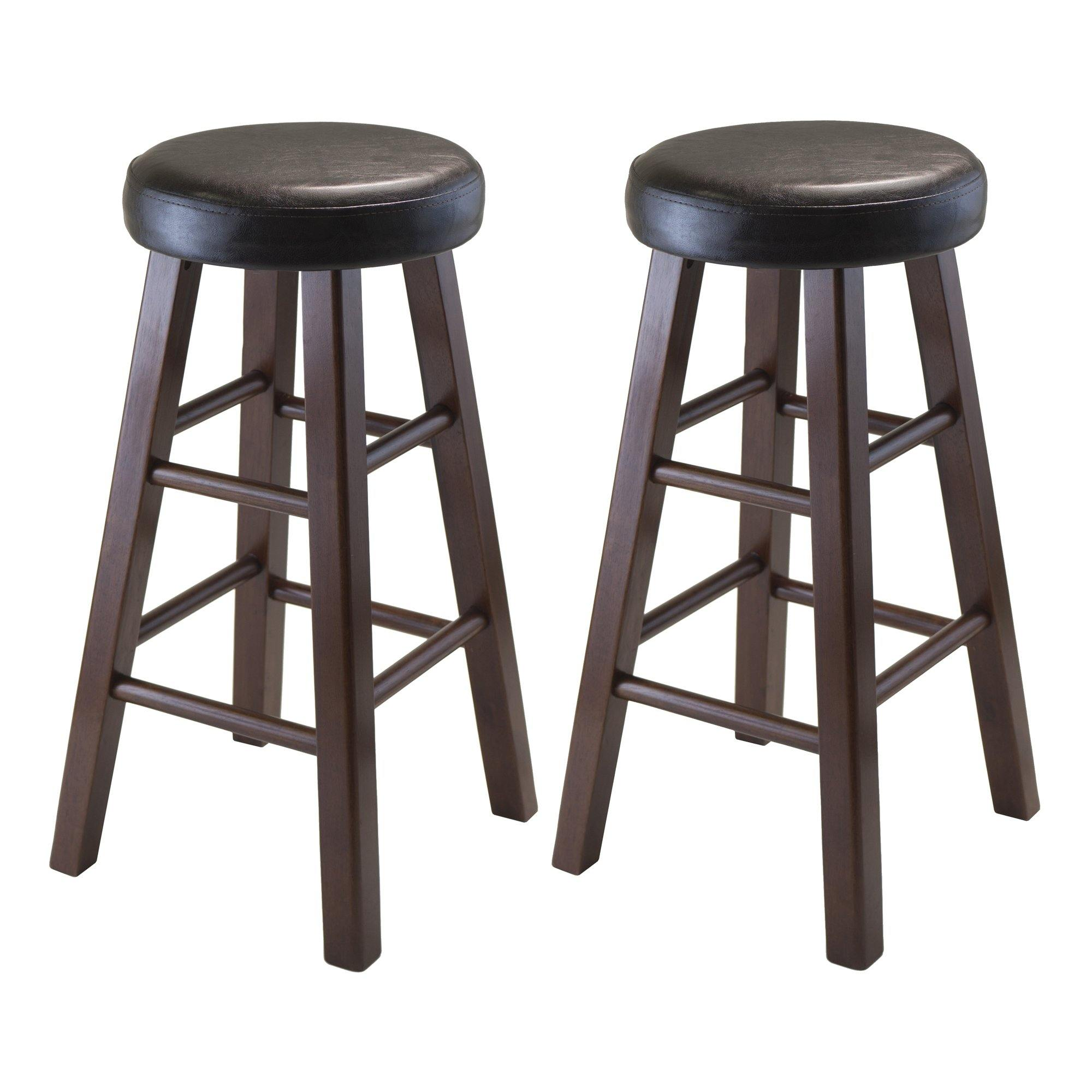 Marta Cushioned Counter Stools, 2-Pc Set, Espresso & Walnut - My USA Furniture