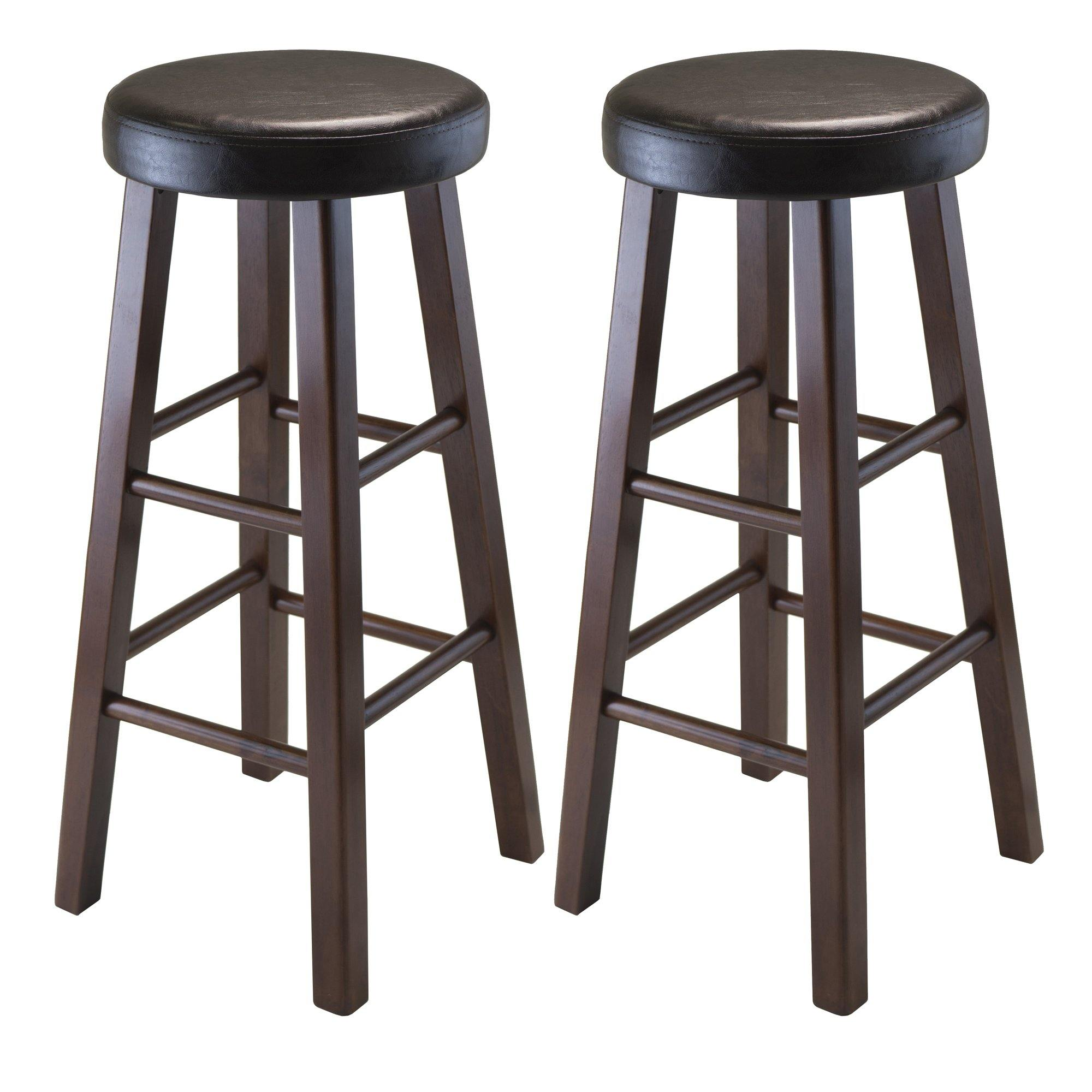 Marta Cushioned Bar Stools, 2-Pc Set, Espresso & Walnut - My USA Furniture