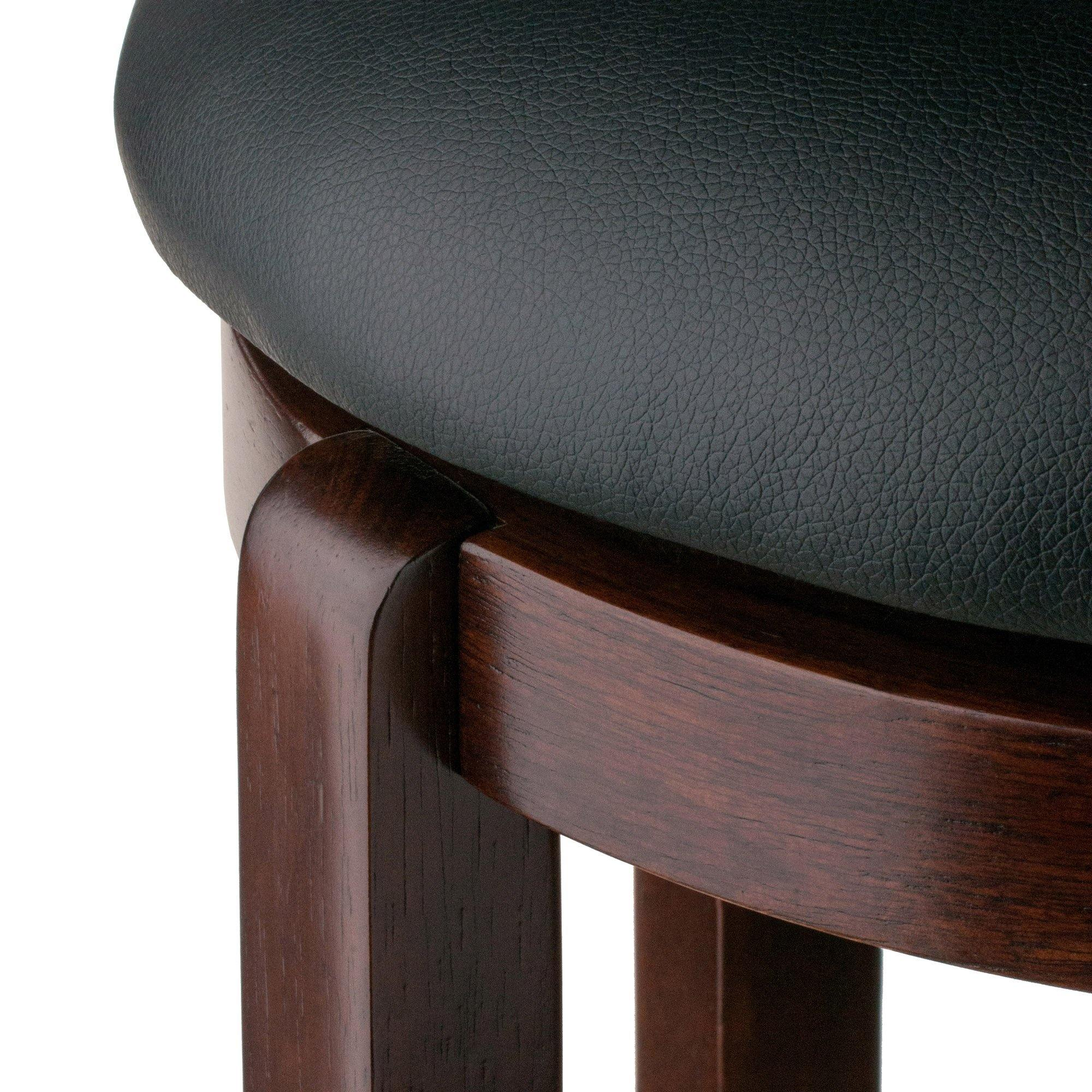 Walcott Swivel Seat Bar Stool, Black & Walnut - My USA Furniture