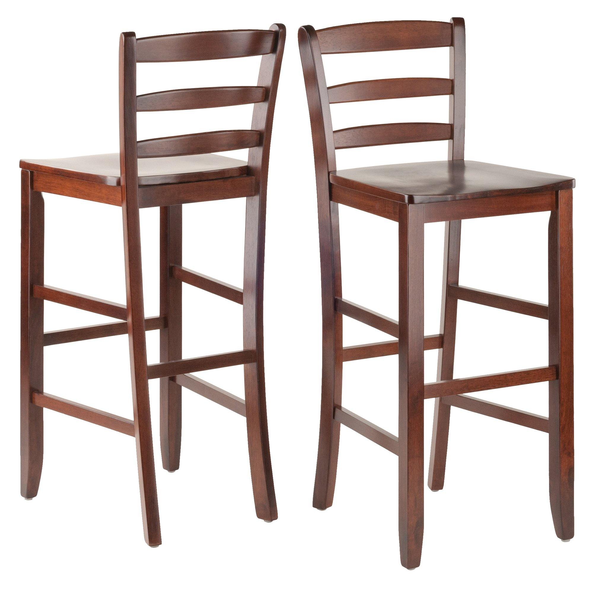 Benjamin Ladder-back Bar Stools, 2-Pc Set, Walnut - My USA Furniture