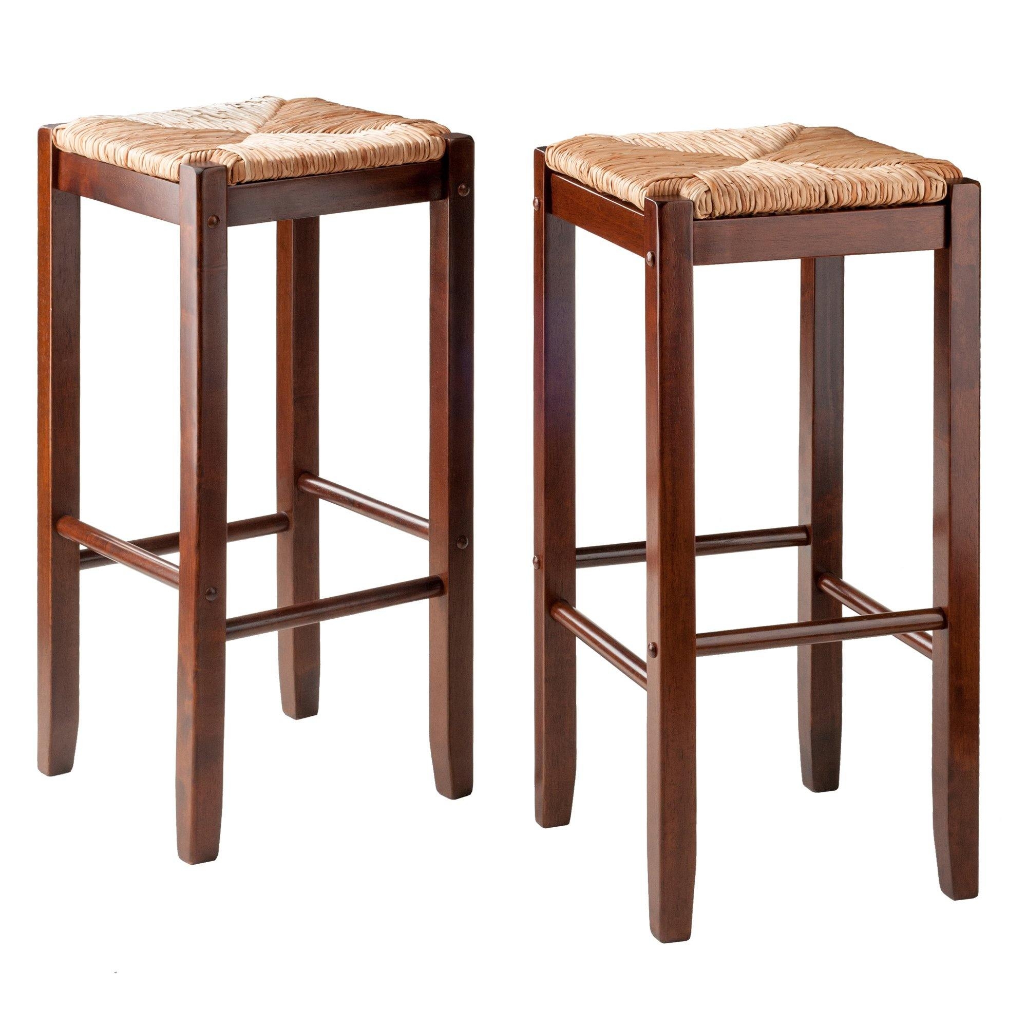 Kaden Rush Seat Bar Stools, 2-Pc Set, Walnut - My USA Furniture