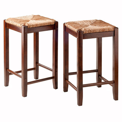 Kaden Rush Seat Counter Stools, 2-Pc Set, Walnut - My USA Furniture