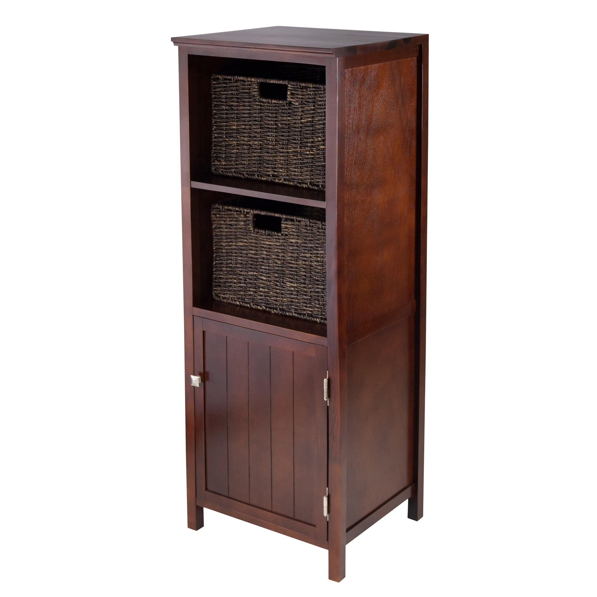 Brooke 3-Pc Set, Jelly Cupboard, 2 Corn Husk Baskets, Walnut - My USA Furniture