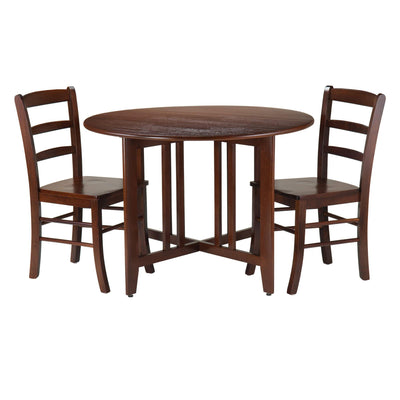 Alamo 3-Pc Round Drop Leaf Table with 2 Ladder Back Chairs - My USA Furniture