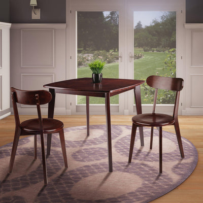 Pauline 3-Pc Set Table with Chairs, Walnut Finish