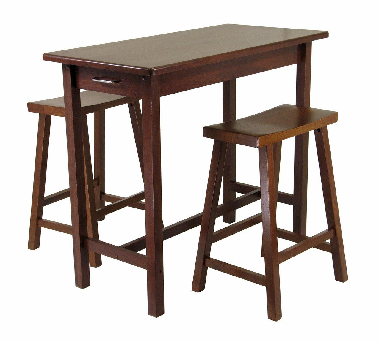 Sally 3-Pc Breakfast Table Set with 2 Saddle Seat Stools - My USA Furniture