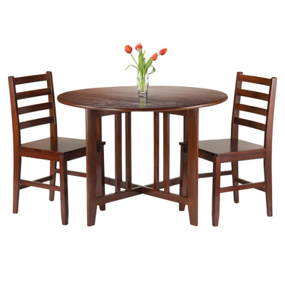 Alamo 3-Pc Round Drop Leaf Table with 2 Hamilton Ladder Back Chairs