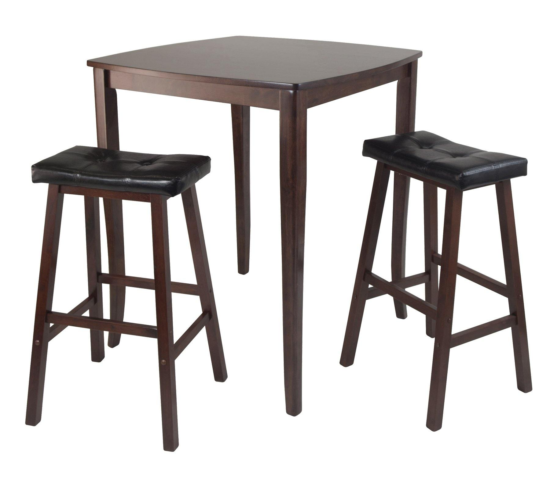 3-Pc Inglewood High/Pub Dining Table with Cushioned Saddle Stool - My USA Furniture