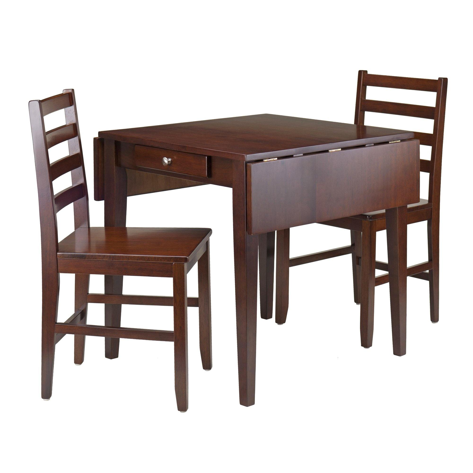Hamilton 3-Pc Drop Leaf Dining Table with 2 Ladder Back Chairs - My USA Furniture