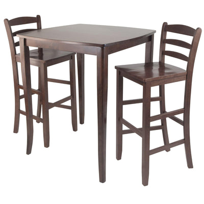 3-Pc Inglewood High/Pub Dining Table with Ladder Back Stool - My USA Furniture