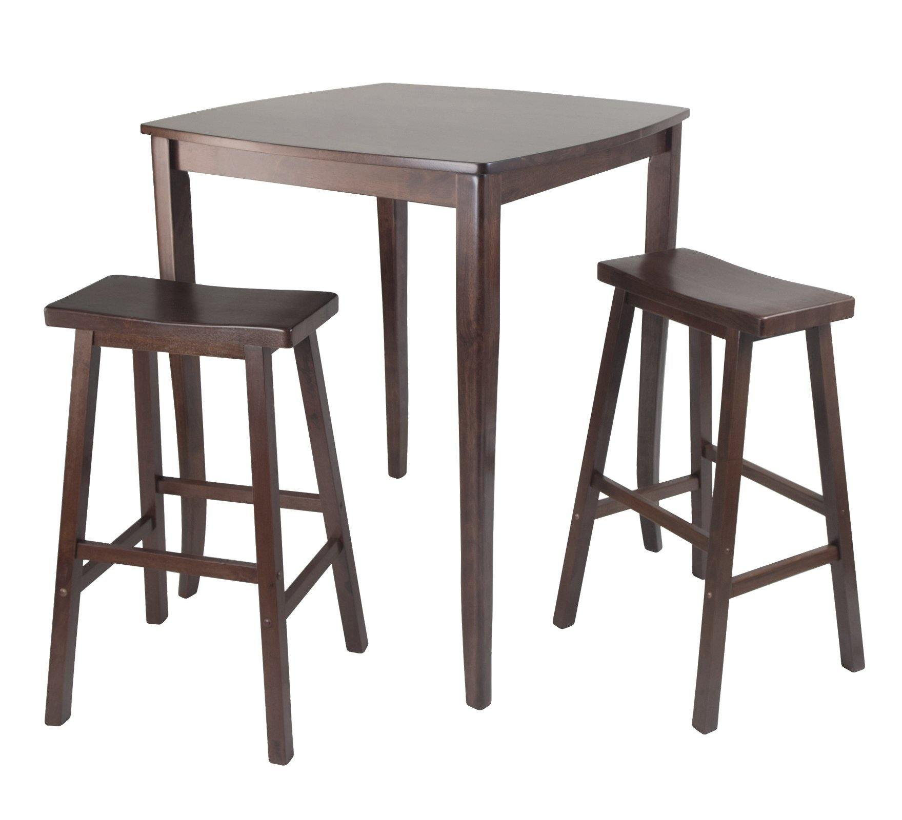 3-Pc Inglewood High/Pub Dining Table with Saddle Stool - My USA Furniture